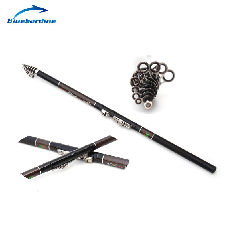 Cheap 5.4M Telescopic Fishing Rods Rock Spinning Pole Fishing Tackle Free Shipping