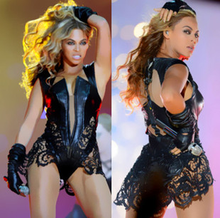 Beyonce one piece female singer ds costume lace patchwork leather fork Одежда и ак�е��уары<br><br><br>Aliexpress