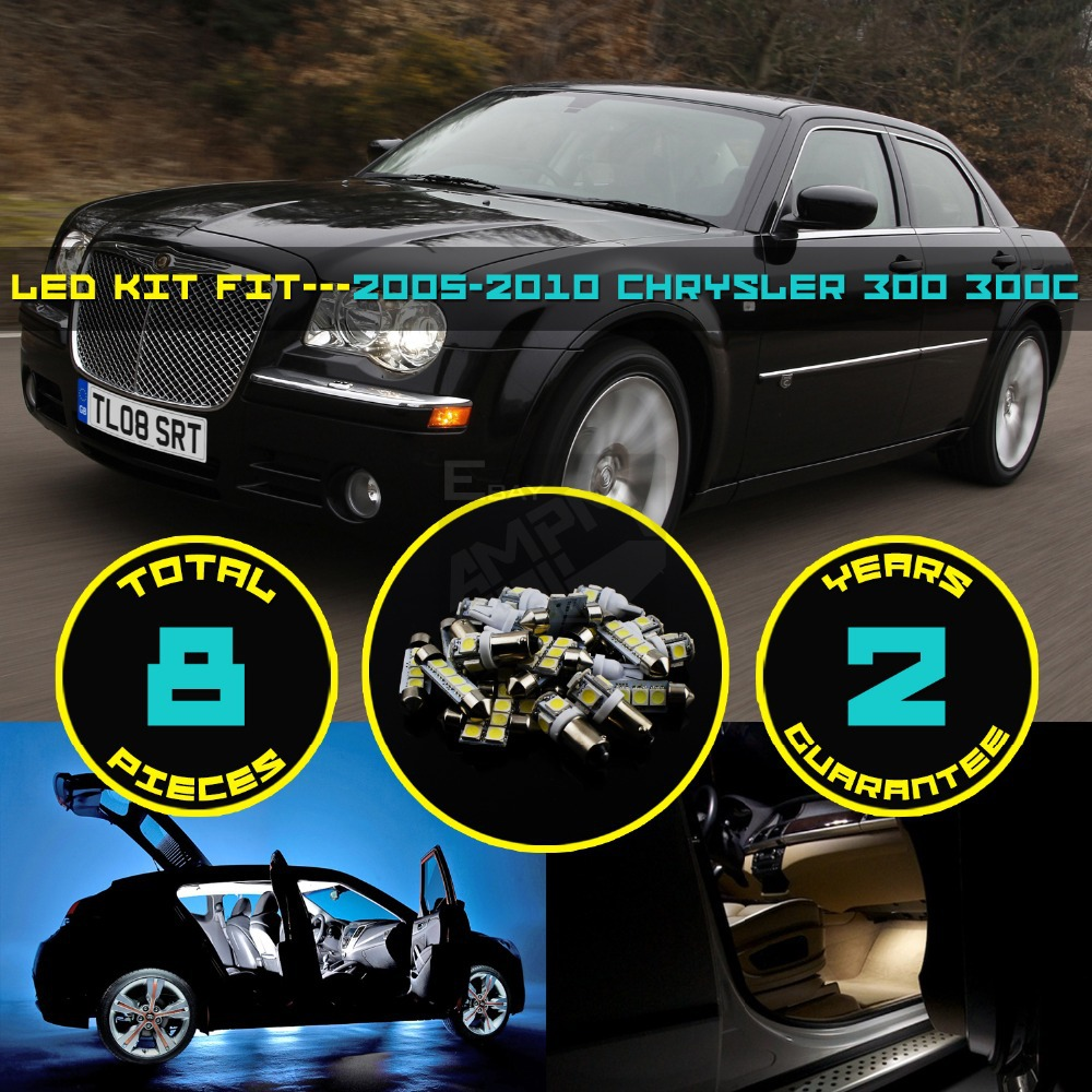 8x car interior led kit roof dome map license plate golve
