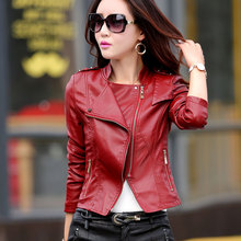 Fashion PU leather coats women Luxury good quality Faux leather slim Designer winter leather jacket free shipping HB-22C