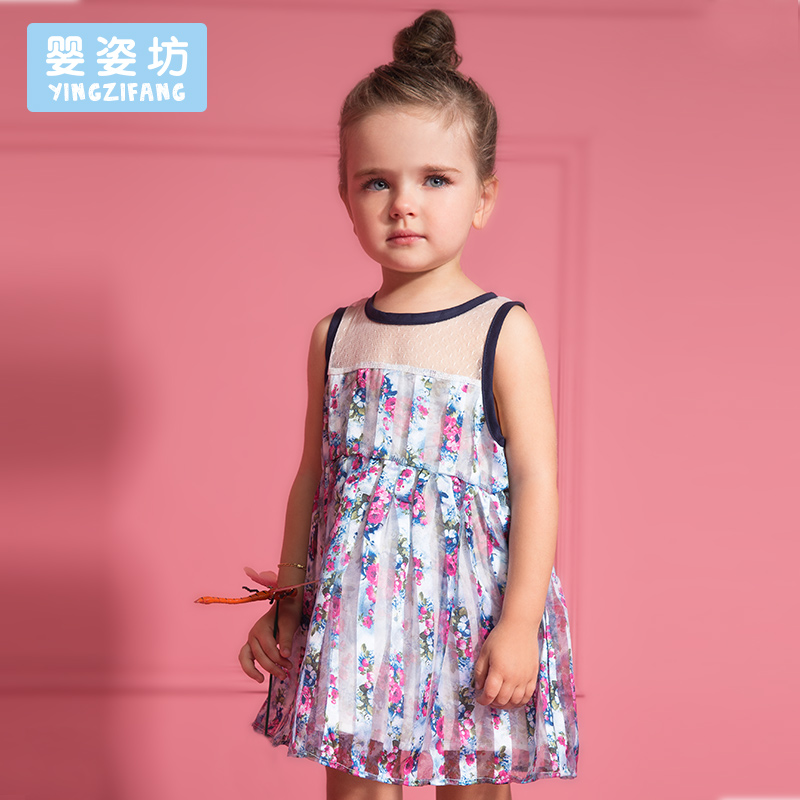 Free Shipping Summer Girls Pierced Vest Dress Print Flowers Floral Dress Yarn Lace Princess Dress(China (Mainland))