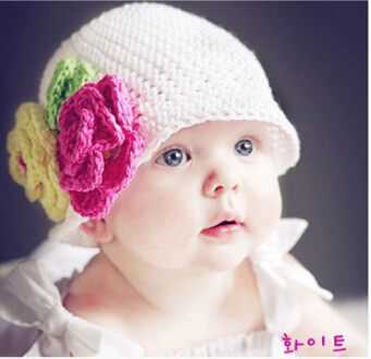 Newborn baby Crochet Hat Caps,Cute handmade Baby girls flowers hats,Crochet Knit newborn Photography Props,crochet baby props(China (Mainland))
