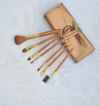 Wholesale Professional 7 pcs  Make-up Toiletry Kit  Makeup Brush Set tools Make Up Brush Set Golden Case Free Shipping AE02569