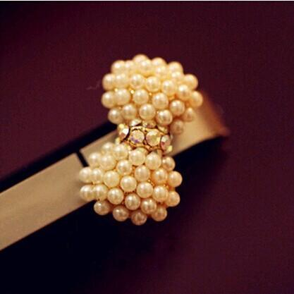 2015 Hot Selling Cell Phone Accessories Phone Jewelry Cute Pearl Bow Dust Plug(China (Mainland))