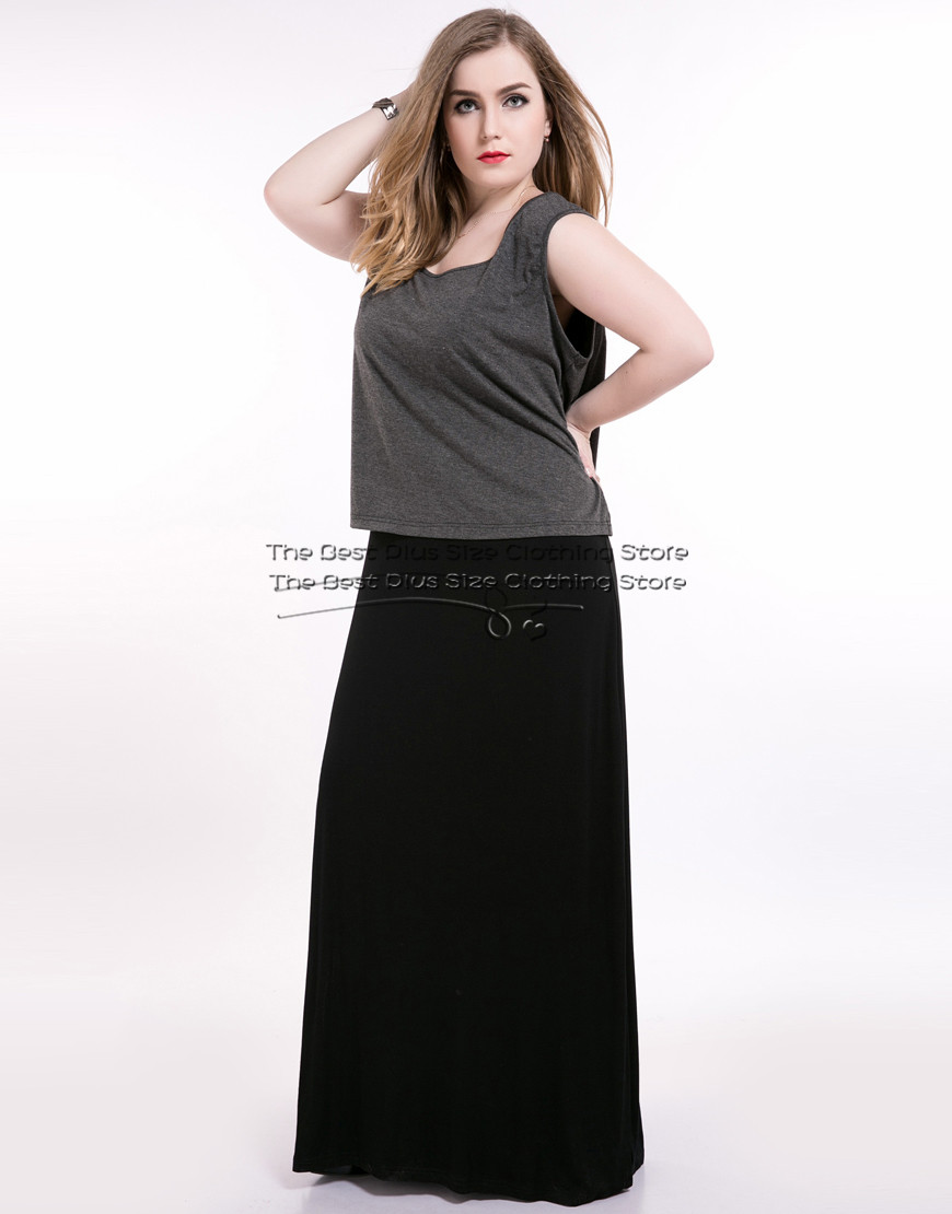 2016 womens sexy long sleeveless maxi plus size party dress contrast gray and black patchwork spring casual dress party dress(China (Mainland))