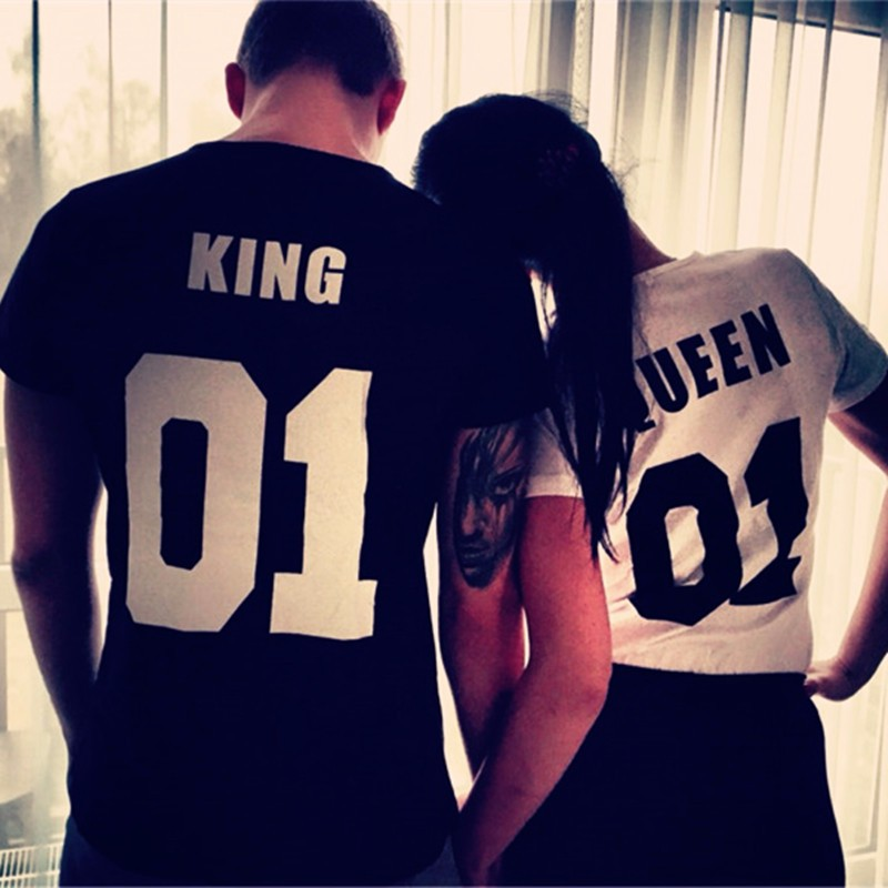 2016 Valentine t shirts Woman O-neck Cotton King Queen 01 Funny Letter Print Couples Leisure T-shirt Man Short Sleeve T-shirt