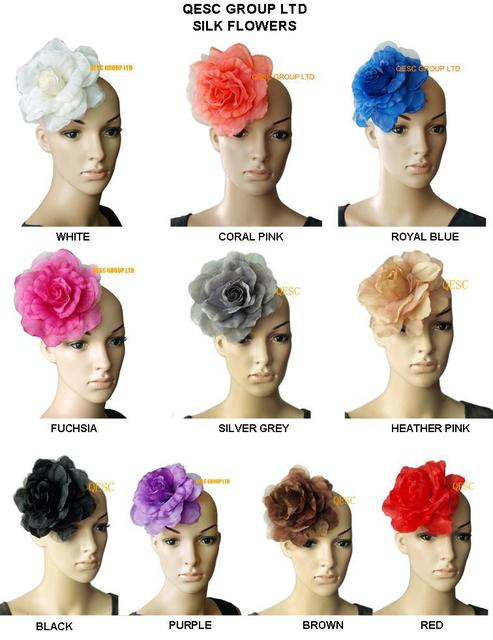 10 colors can pick. 16cm silk flower for millinery,fascinator and hair accessory,with brooch pin hair clip.