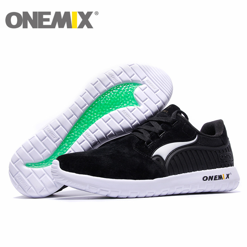 2016 onemix leather breathable mens running shoes for