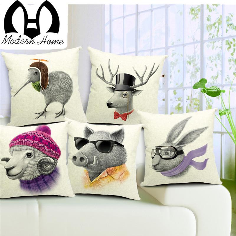 Stug Kiwi Bird Cushion Covers Animal Sheep Wild Boar Deer Birds Pillow Cases Sausage dog dachshund