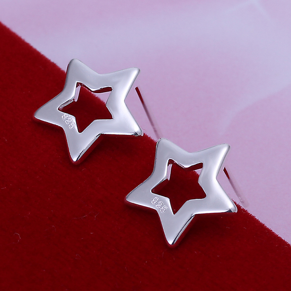 Cute Star Stud earrings High-quality 925 stamped silver plated Boucle d'oreille gift box Free Fashion New Jewelry accessary(China (Mainland))