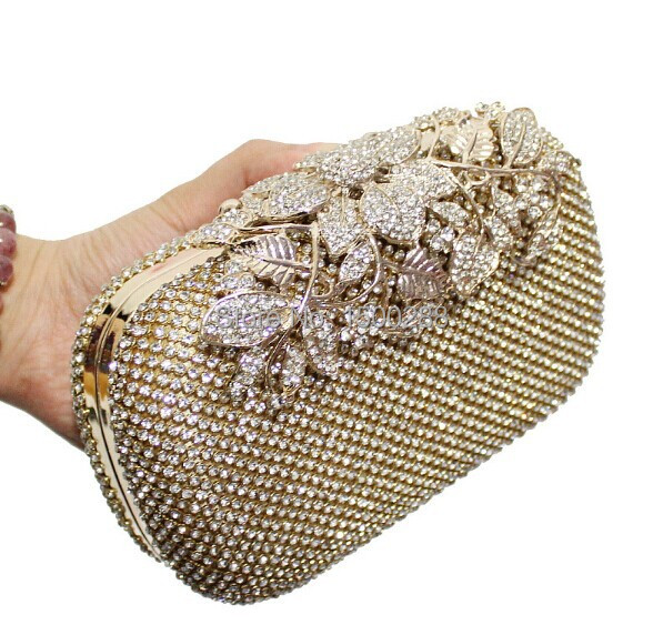 Free Shipping 2014 New Both Side Diamond Flower Crystal Evening Bag Clutch Bags Hot Styling Day Clutches Lady Wedding Purse 3326(China (Mainland))
