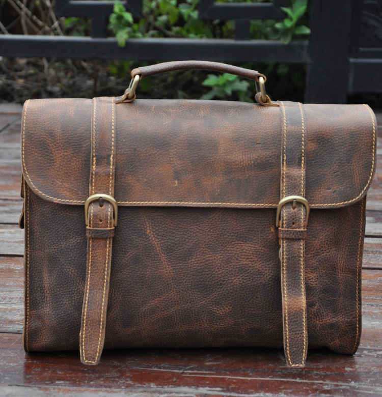 Mens Man bag,genuine leather briefcase,document bag,messenger bag,laptop case,ipad case,cowhide,vintage style,new,brown, - Guangzhou Western Cowboy Leather Industry Co Ltd. store