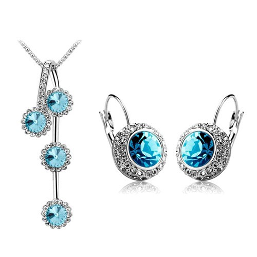 (5 Colour) 2015 Cheap Fashion Woman Jewelry Sets of Rhinestone Silver/Gold Plated Round Crystal Necklace And Earrings Set
