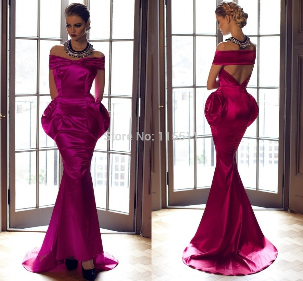 2015 Unique Newest Purple Long Stain Mermaid Boat Neck Sexy Back Sweep Train Women Evening Dresses(China (Mainland))