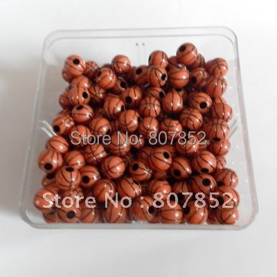 (wholesale) DHL Free shipping 1000pcs 12mm Plastic Football Beads, Basketball Bead, soccer beads
