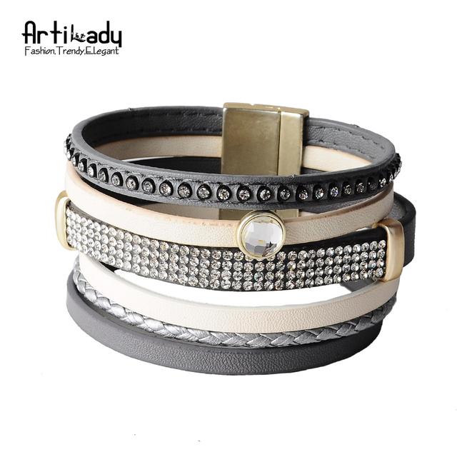 Artilady новый 4 слоя кожи браслет мода зима пу кожаный браслет женские украшения ...