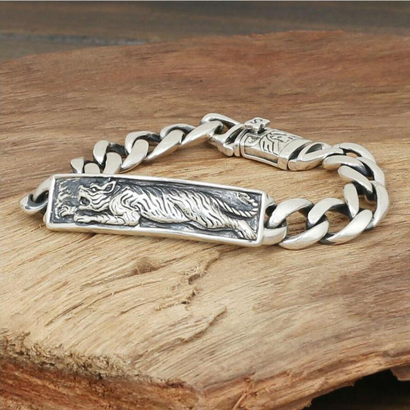 2016 Silver Bay domineering card Tigers Chain Bracelet 925 sterling silver bracelet bangle for men or women fine jewelry 925 G29<br><br>Aliexpress