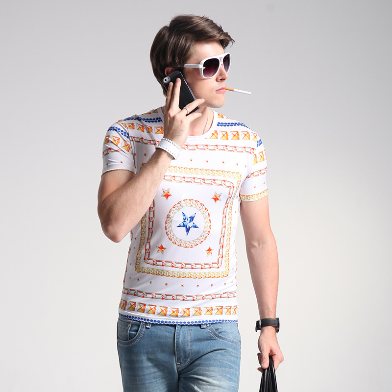 and American manufacturers summer pure men's short sleeve T-shirt male half sleeve shirt personality cultivation(China (Mainland))