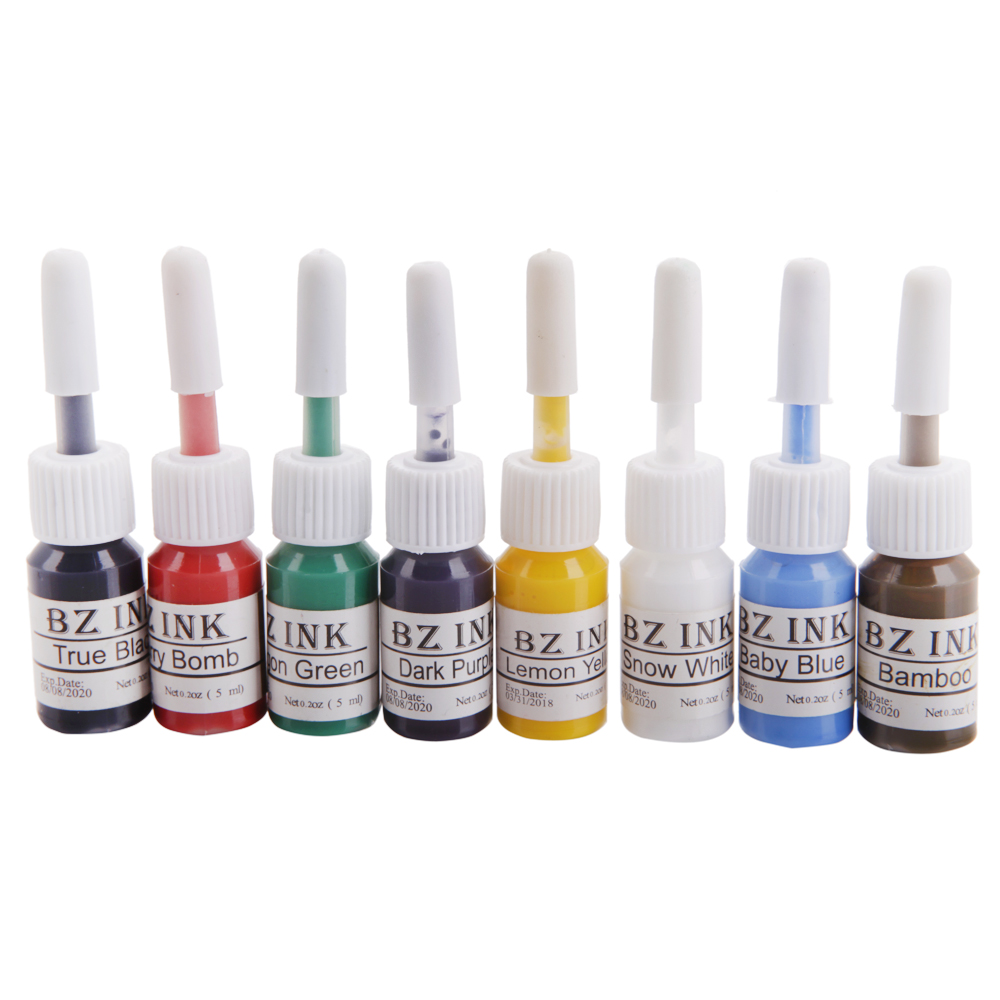 2016 New Professional 8 Colors Permanent Tattoo Ink Pigment Set 5ml/bottle Makeup Cosmetic Kit(China (Mainland))