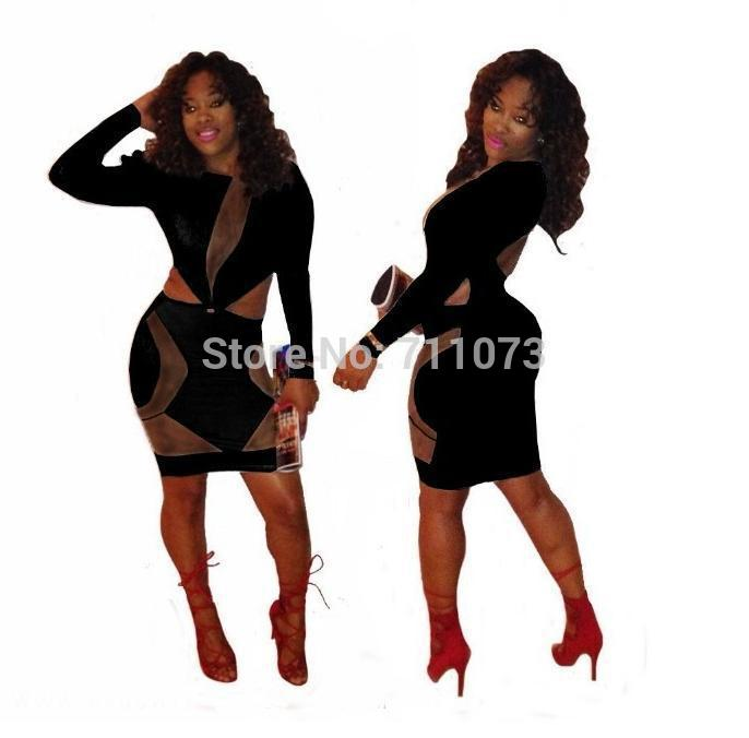 Applique Sheer Hot w62 Plus Size Dress Bandage Ladies Club Wear Nightclub Bodycon Jumper Suit 2015 New Fashion(China (Mainland))