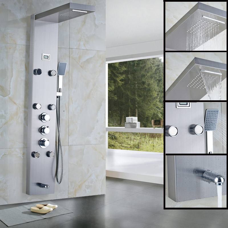 Thermostatic Stainless Steel Rainfall Shower Panel Rain Massage System Faucet with Jets Hand Shower Brushed Digital Thermometer(China (Mainland))