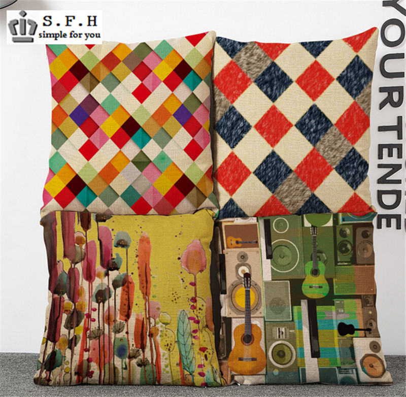 New Nordic ikea Colorful Decorative Throw Pillow Case Linen Cotton Cushion Cover Creative Decoration For Sofa Car Covers 45x45cm(China (Mainland))