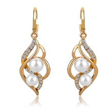 4 Colors 2016  Double Simulated Pearl Earrings For Women Bijoux Femme Crystal Gold Silver Earrings Wedding Brincos SER140229(China (Mainland))