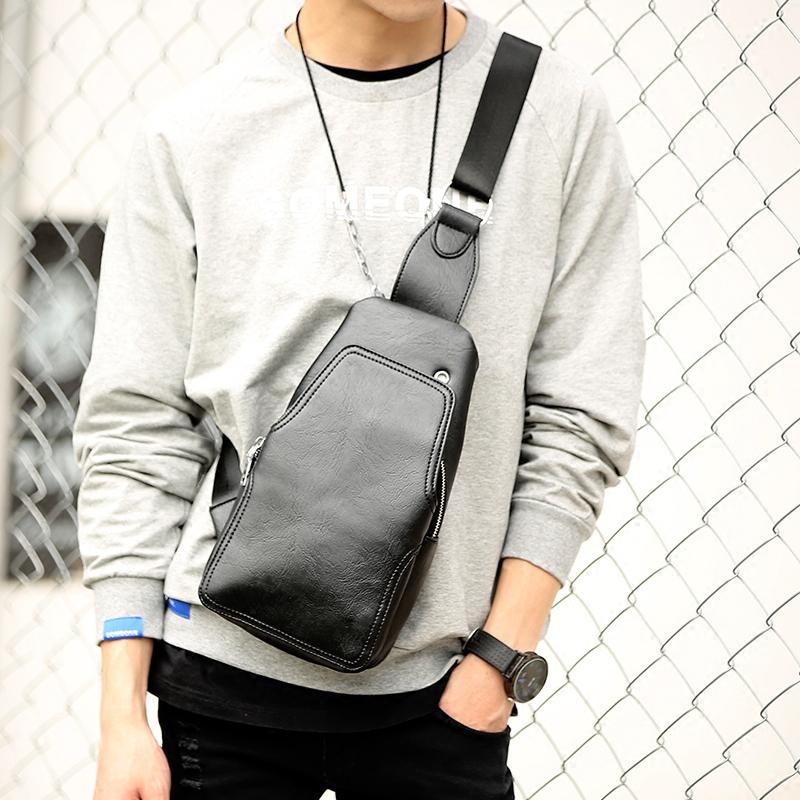 Tidog Korean men chest small satchel cortex chest bag(China (Mainland))