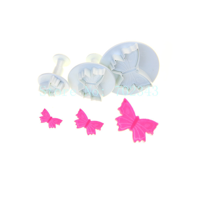 2SETS New 3pcs Butterfly Plunger cutter for Cake Decoration 2014#(China (Mainland))