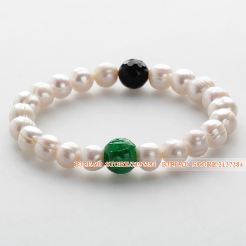 Graceful Ribbed Freshwater Pearl Round Black Agate Green Jade Bracelet(If you mind ribbed pearl, please take carefully)(China (Mainland))