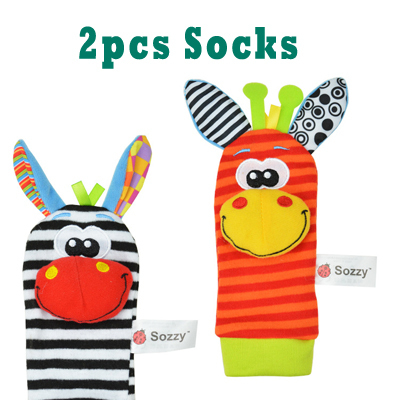 SOZZY  Baby Rattles Toys Animal Socks Wrist Strap With Rattle Soft Baby Foot Socks Bug Wrist Strap