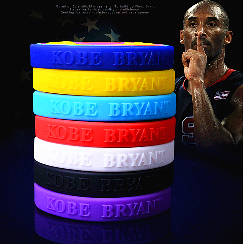 Fashion silicone bracelet basketball wristband Kobe Signature bracelet LeBron James silicone wristband sport wrist loop 7 color(China (Mainland))
