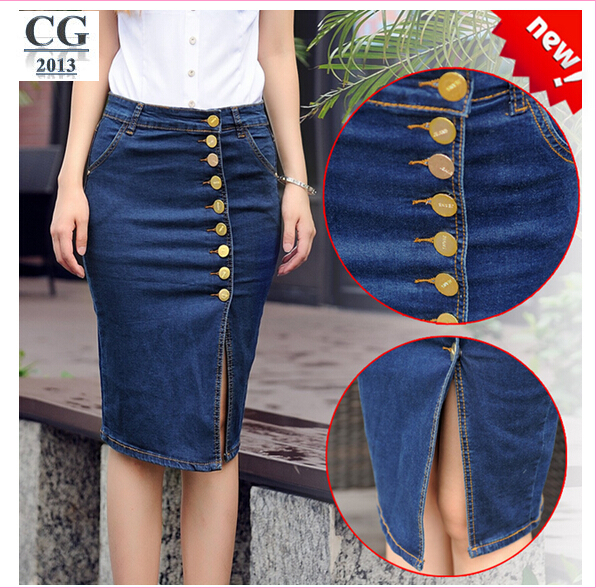 Denim jean skirts knee length – Fashion clothes in USA photo blog
