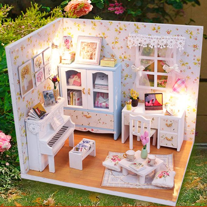 Kids Toys Dollhouse Furniture Doll House Wooden Doll Houses Miniature DIY dollhouseminiatura Villa LED Lights Gift(China (Mainland))