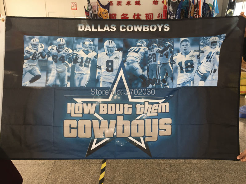 How Bout Then Cowboys Flag Dallas Cowboys Flag 3ft X 5ft World Series 2016 Jersey Football Team Dallas Cowboys Banner(China (Mainland))