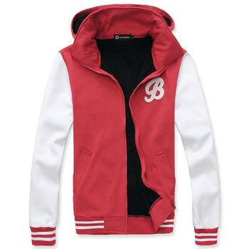 Embroidery with a hood color block male sweatshirt fashion cardigan baseball uniform sweatshirt personality trend of the men's