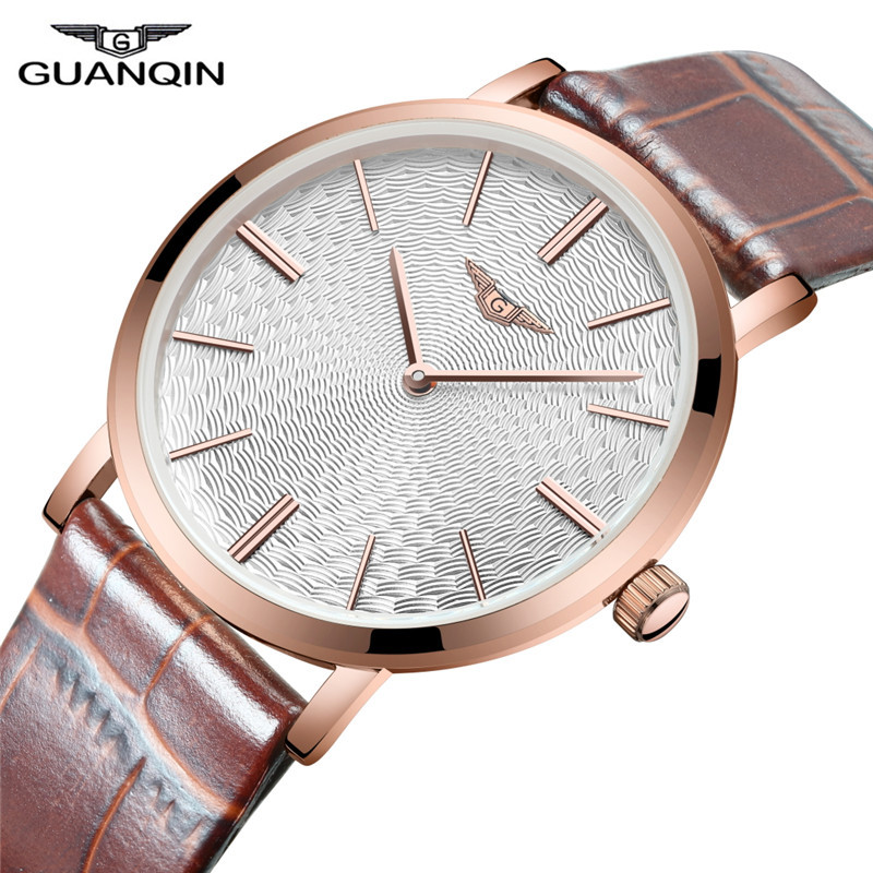 New Arrival Male Watch Top Brand GUANQIN Leather Strap Casual Watches Simple Ultra Thin Men Quartz-Watch Relogio Masculin(China (Mainland))