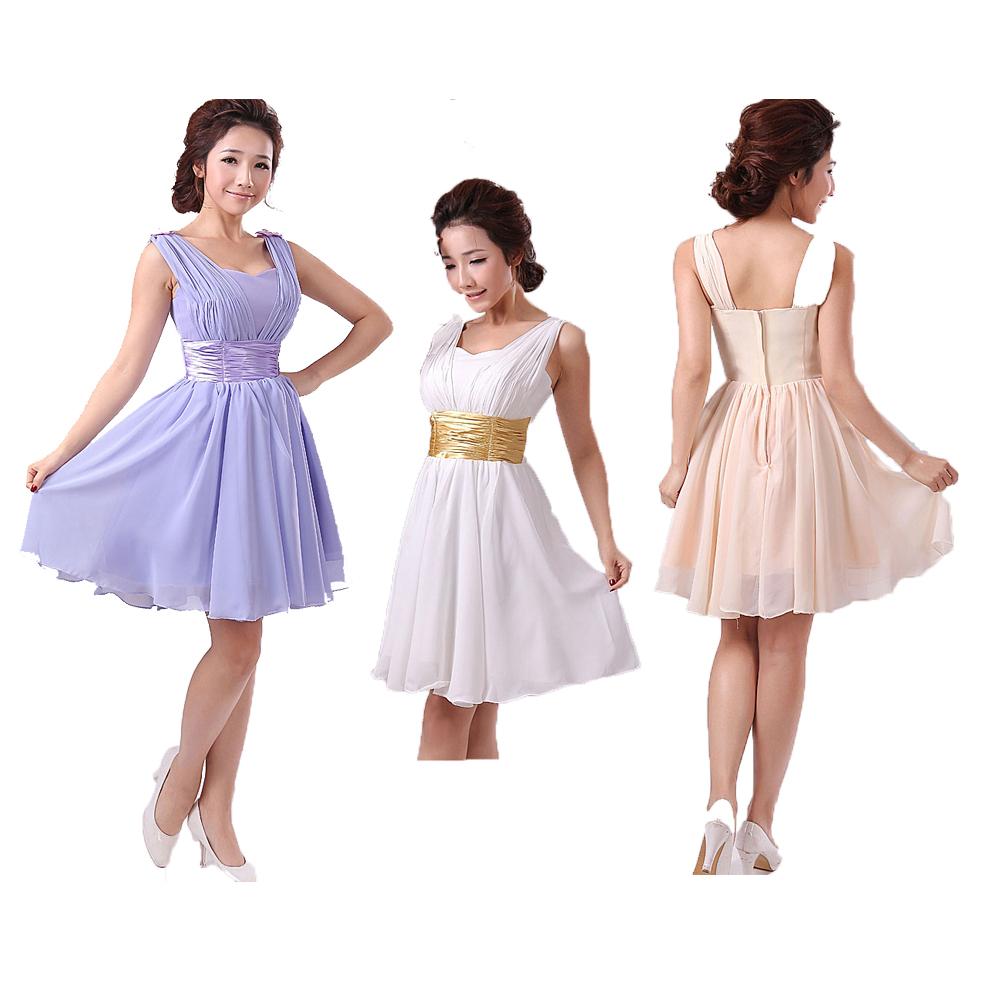 Wedding Bridesmaid Chiffon Short Formal Party Dress Plus Size Lilac Champagne