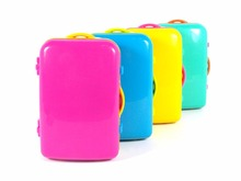 Colorful Cute Luggage Shape Earphone Case For Earphone Headphone Cable Pouch Bag Wallet Carrying Storage Bag Case