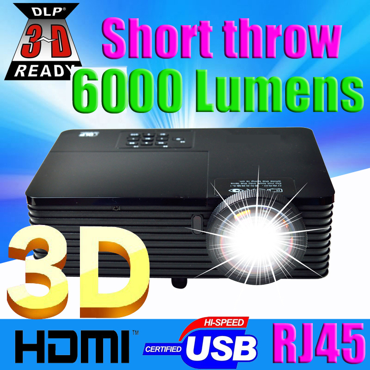 Best 300inch 6000ANSI ultra short throw HDMI USB RJ45 DLP 3D Projector Daylight Outdoor 1080P for Business Advertise Education(China (Mainland))