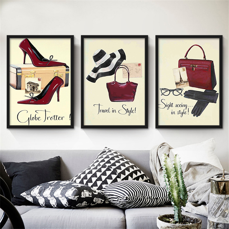 Red High Heels Bags Perfume Canvas Mural Art Painting Fashion Clothing Store Style Nordic Wall Pictures for Shop Mall Women Room(China (Mainland))