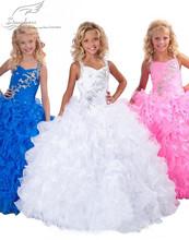 2015 robe de bal bleu blanc rose robes de demoiselle mignon robe de bal Halter été filles Pageant robe pour les mariages parti robe(China (Mainland))