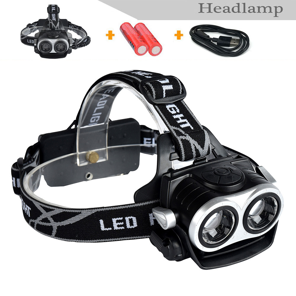 2016 new 20w Multi-functional LED Headlamp CREE XML T6 3 Modes Rechargeable Headlight Head Lamp For Hunting+USB+2PCS 18650(China (Mainland))
