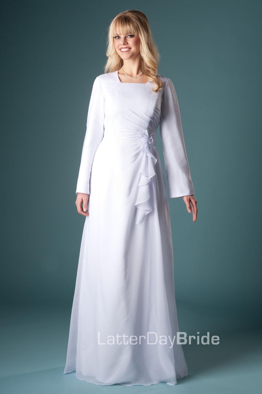2014 simple white a line full length modest full long for Modest wedding dresses with long sleeves