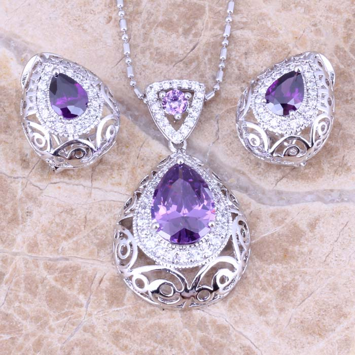 Pearlz Ocean Amethyst Lavender Beaded Necklace Earrings