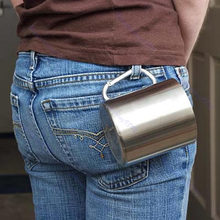 Stainless Steel Coffee Mug Camp Camping Cup Carabiner Hook Double Wall Free Shipping