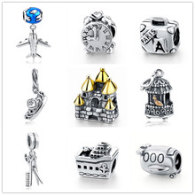 Fit Authentic Pandora Bracelet Silver 925 Original plane clock Pandora Crown Shape Charms Antique Beads Pendant Jewelry Gifts(China (Mainland))