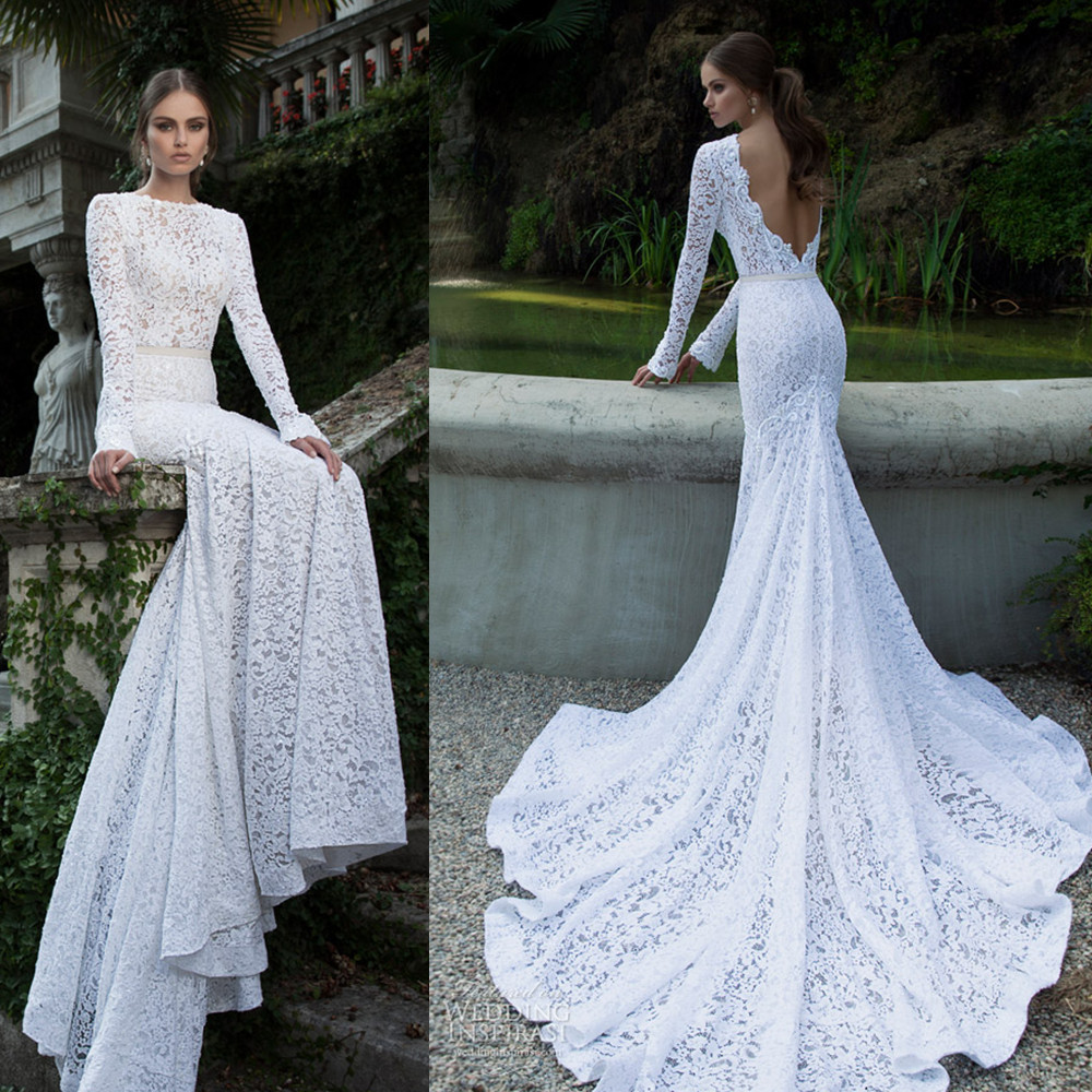 2014 Vestidos De Noiva Lace Long Sleeve Backless Cathedral Train Wedding Dres