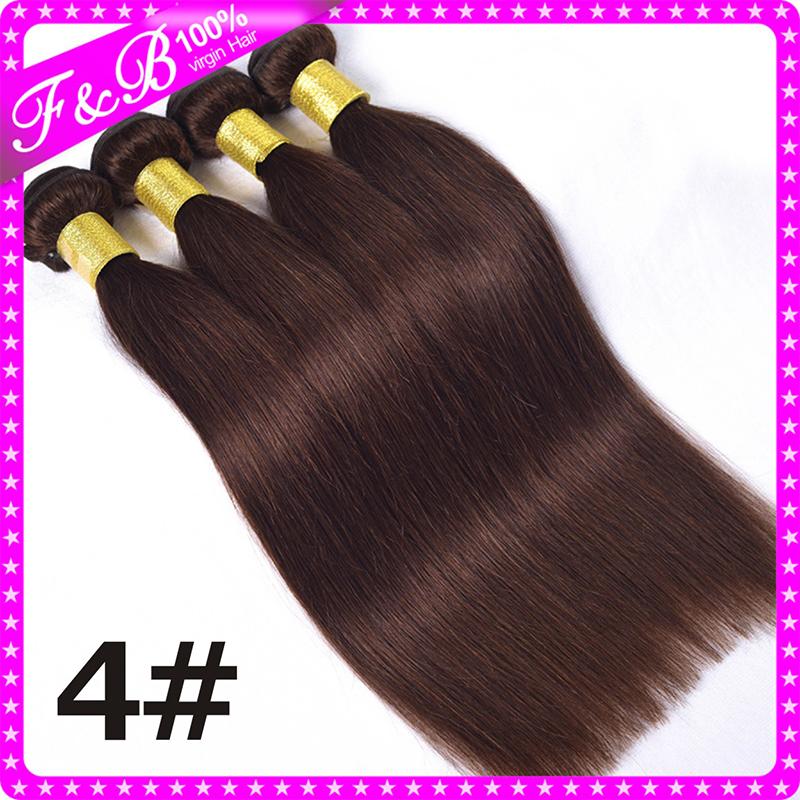4# Light Brown Brazilian Straight Virgin Hair Tangle Free,Brazilian Straight Hair Bundles 4pcs Soft Cheap Human Hair Weave(China (Mainland))