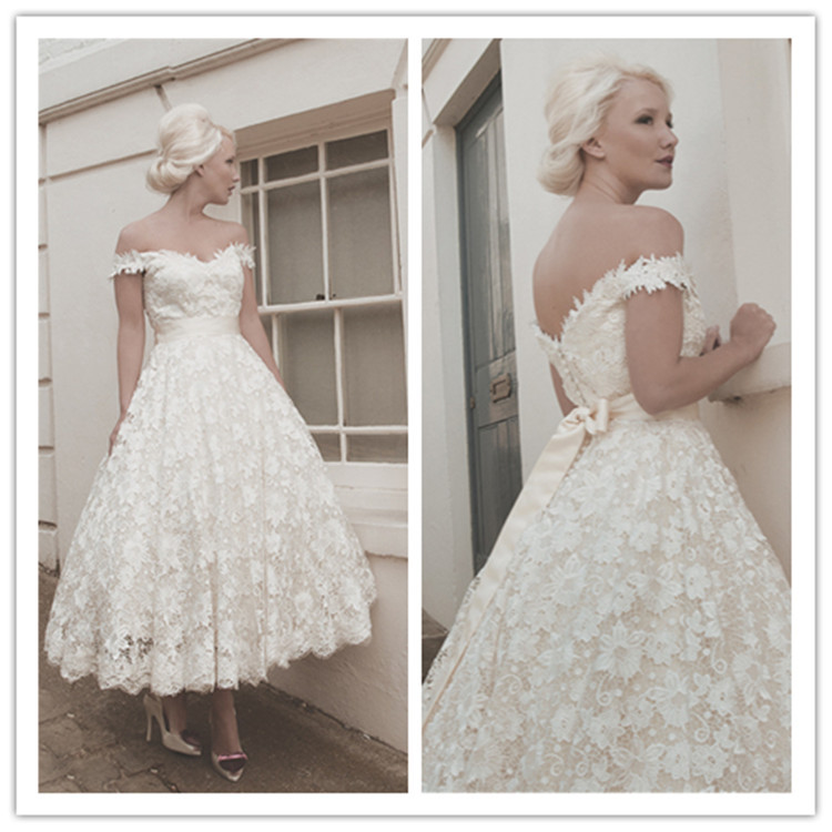 Tea length wedding dress a line 2015 new off shoulder for One shoulder tea length wedding dress